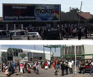"Report Cover Photo: Crowds mob South African-owned Makro and Jaggers and strip shelves bare in Harare during ""Operation Slash Prices"" in July 2007"